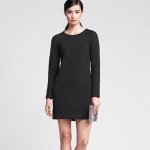 Banana Republic Long Sleeve Jaquard Black Dress